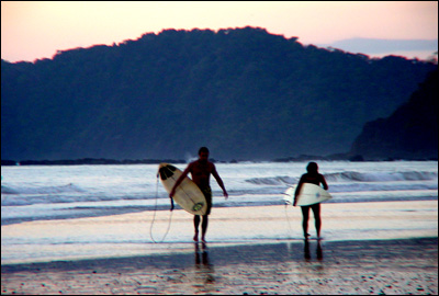 Surfing at Jaco Beach