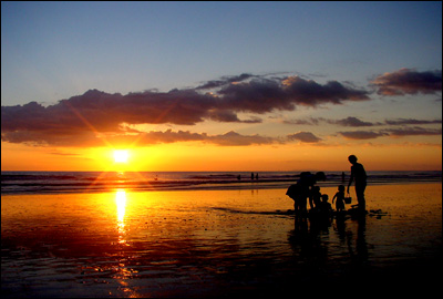 Playing during sundown at Jaco Beach