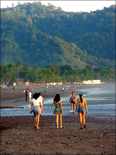 Walking along Jaco Beach